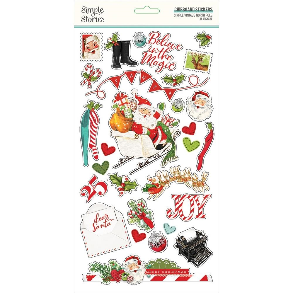 Simple Stories VINTAGE NORTH POLE 6 x 12 Chipboard Stickers 13620 zoom image