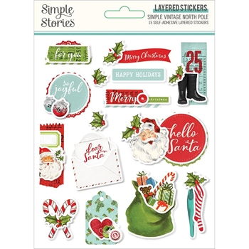 Simple Stories VINTAGE NORTH POLE Layered Stickers 13627