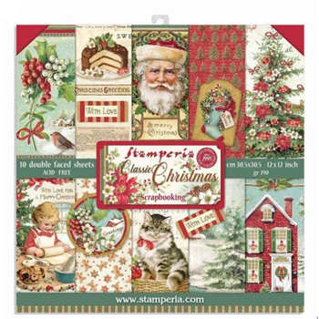 Stamperia CLASSIC CHRISTMAS 12x12 Paper sbbl74*