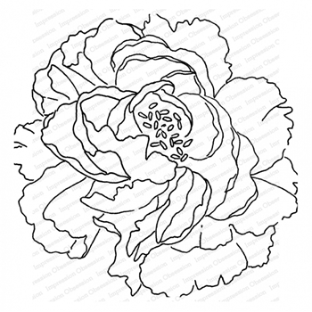 Impression Obsession Cling Stamp PEONY Create A Card CC405*