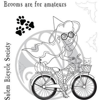 The Rabbit Hole Designs BICYCLE WITCH Clear Stamps TRH-67