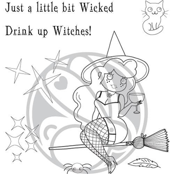 The Rabbit Hole Designs COCKTAIL WITCH Clear Stamps TRH-69
