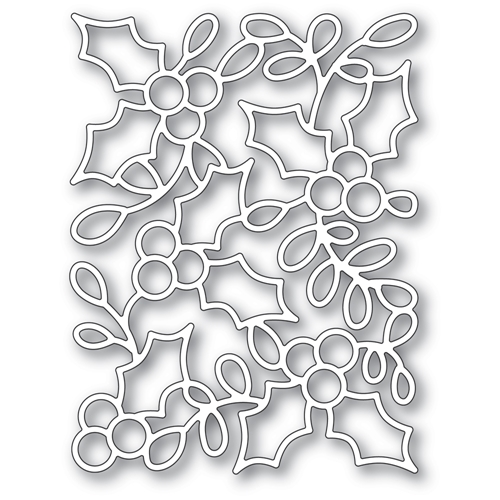 Poppy Stamps HOLLY BACKGROUND Craft Die 2392 Preview Image