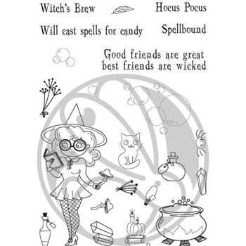 The Rabbit Hole Designs SPELLCASTER WITCH Clear Stamps TRH-70