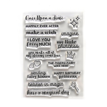 Elizabeth Craft Designs Clear Stamps ONCE UPON A TIME SENTIMENTS cs184