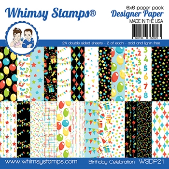 Whimsy Stamps BIRTHDAY CELEBRATION 6 x 6 Paper Pads WSDP21
