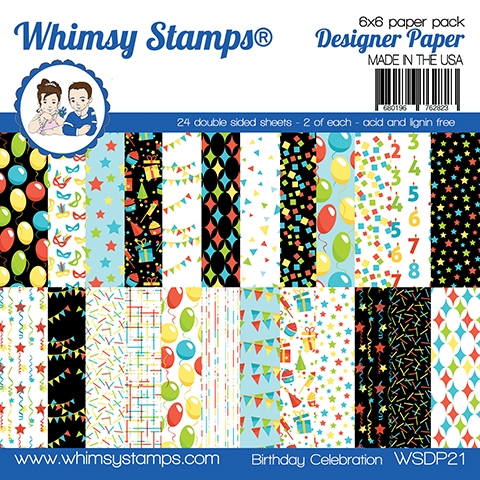 Whimsy Stamps BIRTHDAY CELEBRATION 6 x 6 Paper Pads WSDP21 zoom image