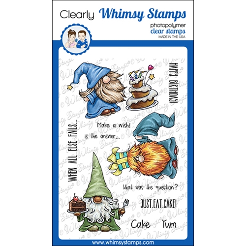 Whimsy Stamps GNOME BIRTHDAYS Clear Stamps C1360 Preview Image