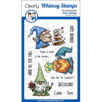Whimsy Stamps GNOME BIRTHDAYS Clear Stamps C1360