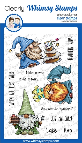 Whimsy Stamps GNOME BIRTHDAYS Clear Stamps C1360 zoom image