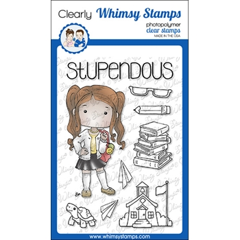 Whimsy Stamps POLKA DOT PALS DELIA Clear Stamps BS1014