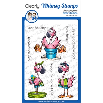 Whimsy Stamps FLAMINGO FUN Clear Stamps DP1049