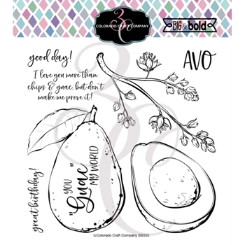 Colorado Craft Company Big and Bold AVOCADO LOVE Clear Stamps BB335