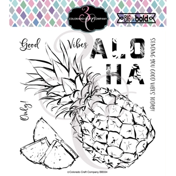 Colorado Craft Company Big and Bold ALOHA PINEAPPLE Clear Stamps BB334