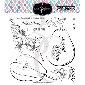 Colorado Craft Company Big and Bold HUGS AND PEARS Clear Stamps BB333