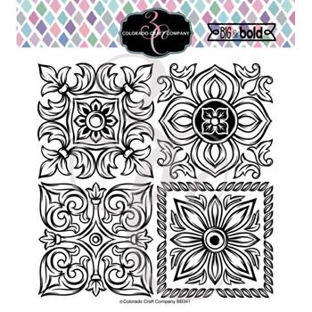 Colorado Craft Company Big and Bold ITALIAN TILES LARGE Clear Stamps BB341