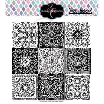 Colorado Craft Company Big and Bold ITALIAN TILES SMALL Clear Stamps BB340