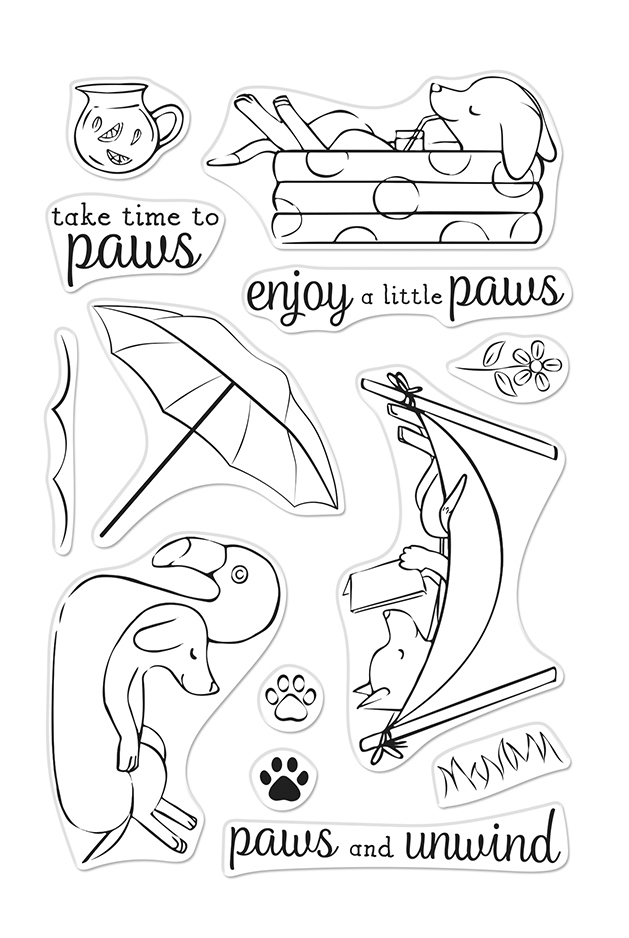 Hero Arts Clear Stamps LOUNGING PUPS CM472 zoom image