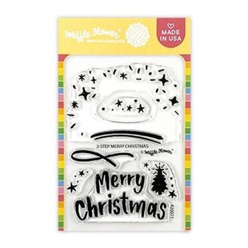 Waffle Flower 2 STEP MERRY CHRISTMAS Clear Stamps 420071*
