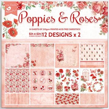 Little Birdie POPPIES AND ROSES 6x6 Paper Pad cr83885