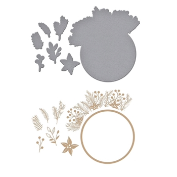 GLP-188 Spellbinders CHRISTMAS FOLIAGE CIRCLE BORDER Glimmer Hot Foil Plate