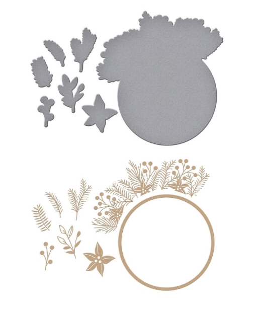 GLP-188 Spellbinders CHRISTMAS FOLIAGE CIRCLE BORDER Glimmer Hot Foil Plate zoom image