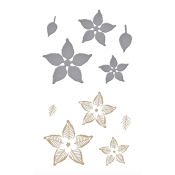 GLP-196 Spellbinders GLIMMER POINSETTIA Glimmer Hot Foil Plate and Die Cuts