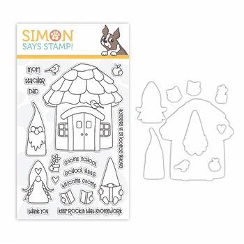 Simon Says Stamps and Dies GNOME SCHOOL set388gs Let's Connect