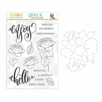 Gina K Exclusive Simon Says Stamps and Dies SUMMER ROSES set340sr Let's Connect