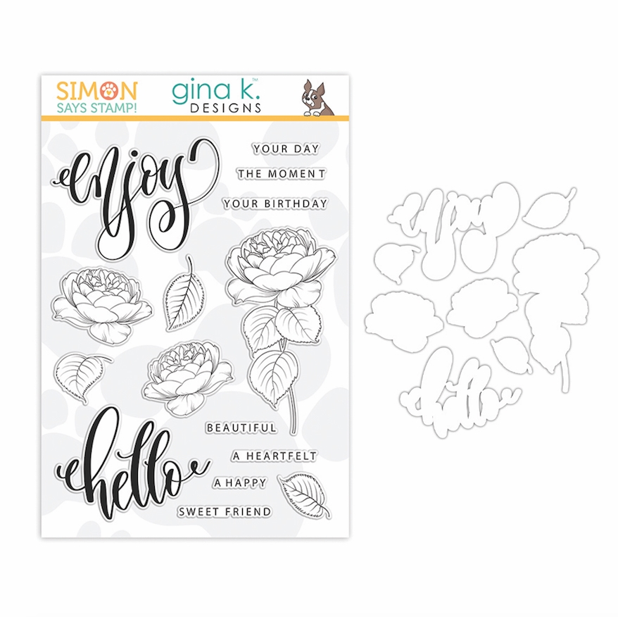 Gina K Exclusive Simon Says Stamps and Dies SUMMER ROSES set340sr Let's Connect zoom image