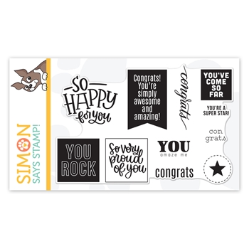 Simon Says Clear Stamps CONGRATS WORD MIX 2 sss102115 Let's Connect