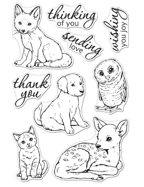 Hero Arts Clear Stamps FAWN AND FRIENDS CM470* zoom image