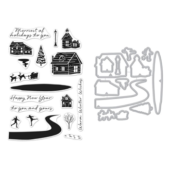 Hero Arts SNOWY TOWN Clear Stamp and Die Combo SB262