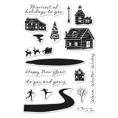 Hero Arts Clear Stamps SNOWY TOWN CM469 Preview Image