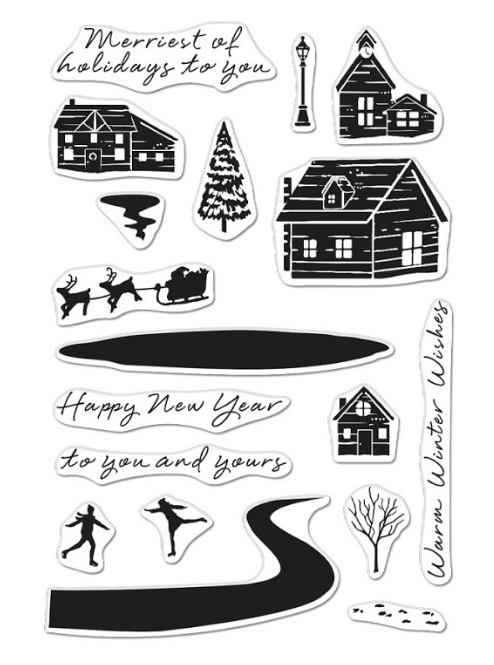 Hero Arts Clear Stamps SNOWY TOWN CM469 zoom image