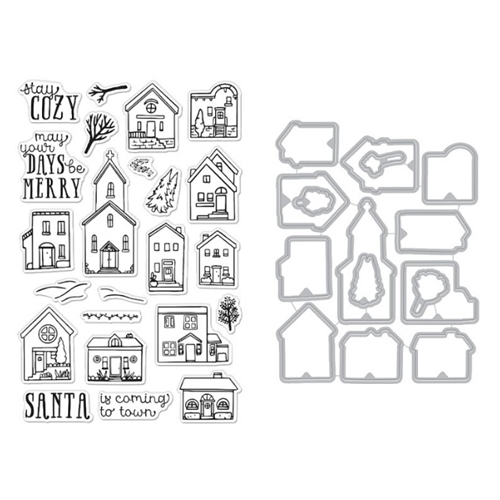 Hero Arts COZY TOWN Clear Stamp and Die Combo SB261 Preview Image