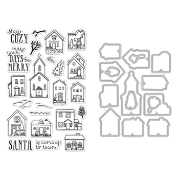 Hero Arts COZY TOWN Clear Stamp and Die Combo SB261
