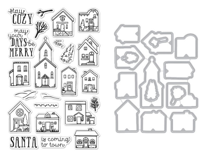 Hero Arts COZY TOWN Clear Stamp and Die Combo SB261 zoom image
