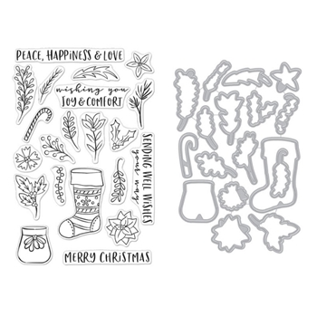 Hero Arts STOCKING BOUQUET Clear Stamp and Die Combo SB260