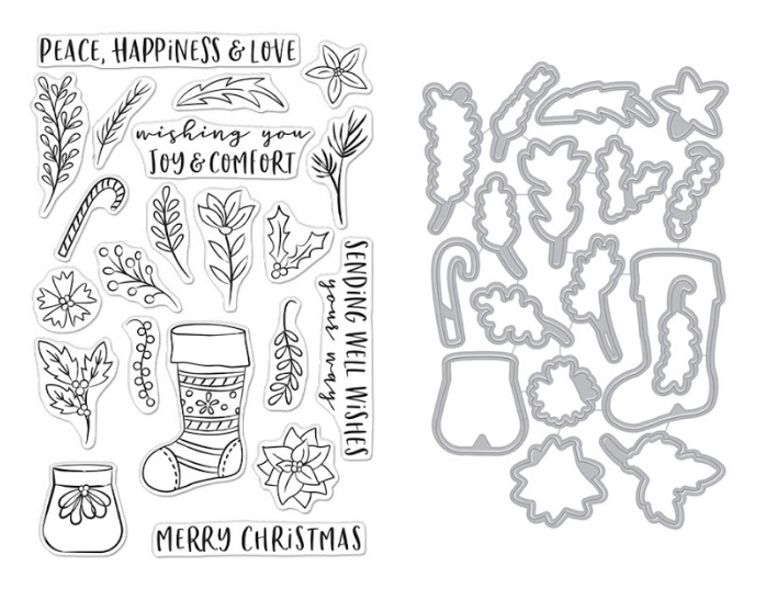 Hero Arts STOCKING BOUQUET Clear Stamp and Die Combo SB260 zoom image