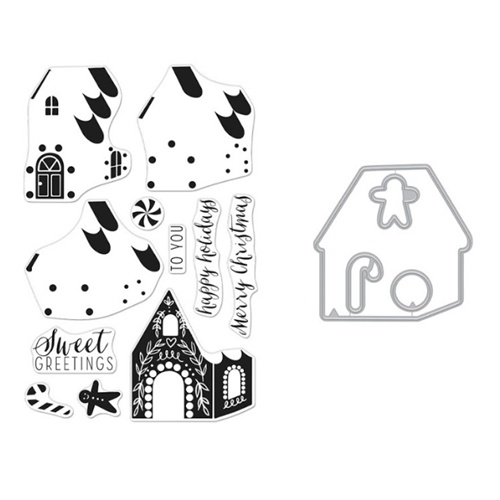 Hero Arts Color Layering GINGERBREAD HOUSE Clear Stamp and Die Combo SB259 Preview Image