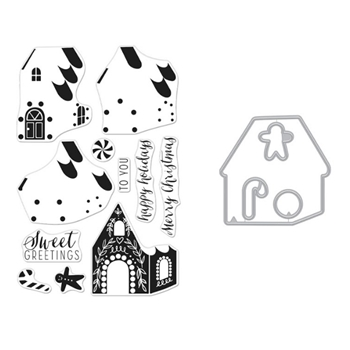 Hero Arts Color Layering GINGERBREAD HOUSE Clear Stamp and Die Combo SB259