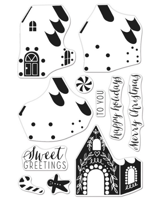 Hero Arts Clear Stamps Color Layering GINGERBREAD HOUSE CM462 zoom image