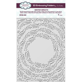 Creative Expressions WINTER WREATH 3D Embossing Folder by Sue Wilson ef3d033