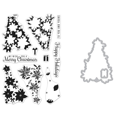 Hero Arts Color Layering POINSETTIA CHRISTMAS Clear Stamp and Die Combo SB258 Preview Image