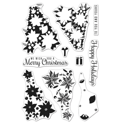 Hero Arts Clear Stamps Color Layering POINSETTIA CHRISTMAS CM461 Preview Image
