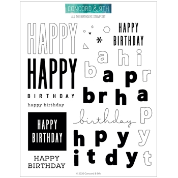 RESERVE Concord & 9th ALL THE BIRTHDAYS Clear Stamp Set 10944