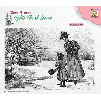 Nellie's Choice VINTAGE WINTERY SCENE Clear Stamp ifs024