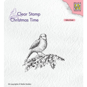 Nellie's Choice BIRD ON BRANCH Clear Stamp ct032