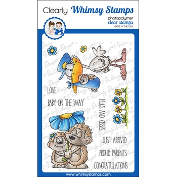 Whimsy Stamps HEDGIE LOVE Clear Stamps DP1050